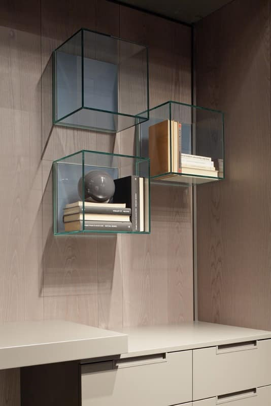 GLASSBOX comp.01, Original shelves in wood and crystal, for living rooms