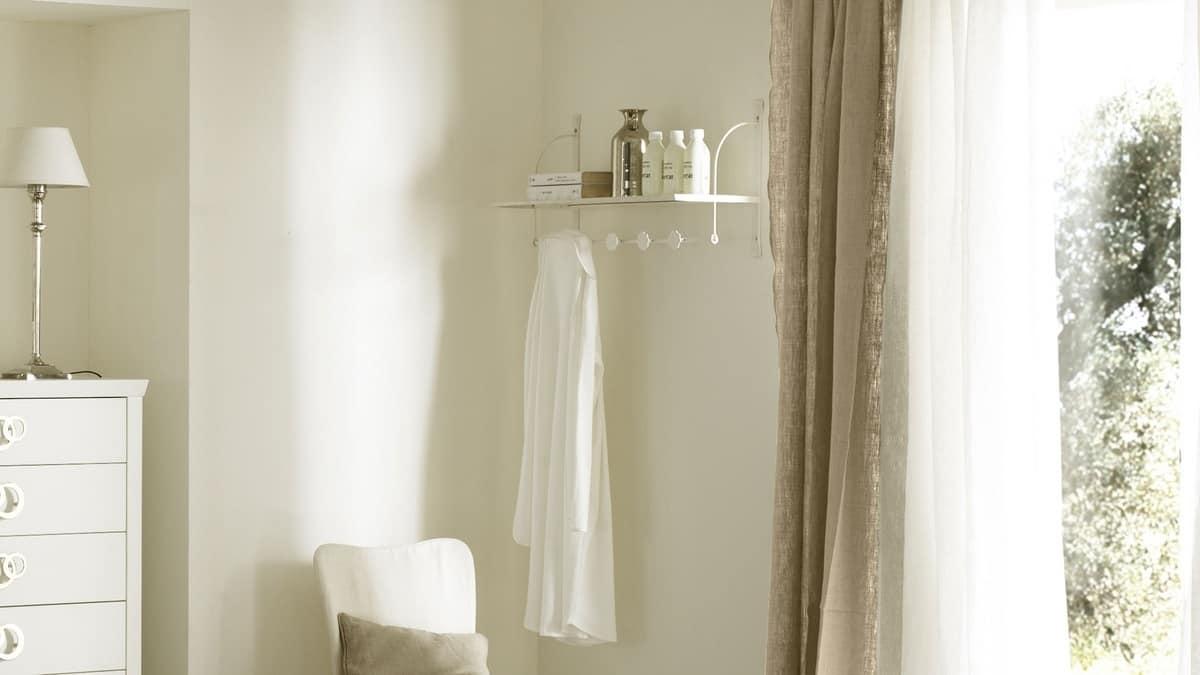 Grata hallstand shelf, Shelf with hangers, in hot wrought iron