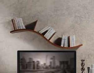 LB29 Onda bookcase, Shelf in walnut, with sinuous line