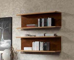 LB40 Desyo bookcase, Shelf in walnut and maple, for classic houses