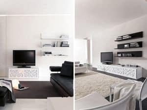 PARIS shelf, Shelf made of lacquered laminate, for living rooms and bedrooms