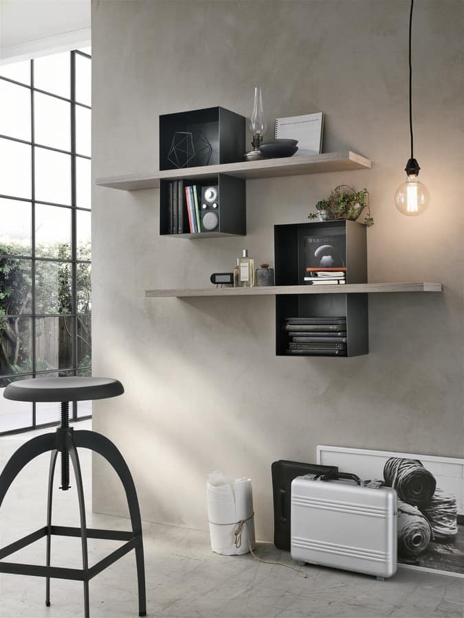 MODUS ML501, Shelves with laminate top and metal containers