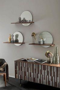 SUNSET shelf, Shelf with mirror and wooden shelf