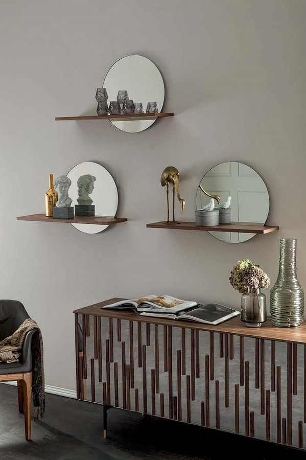 SUNSET shelf, Shelf with mirror and wooden shelf
