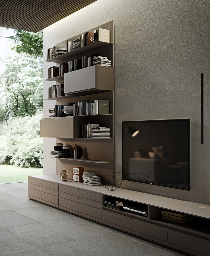 ALL comp.10, Wall-unit with aluminum shelves