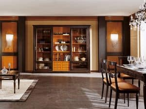 Art.105/L, Cabinet with glass doors and wooden shelves