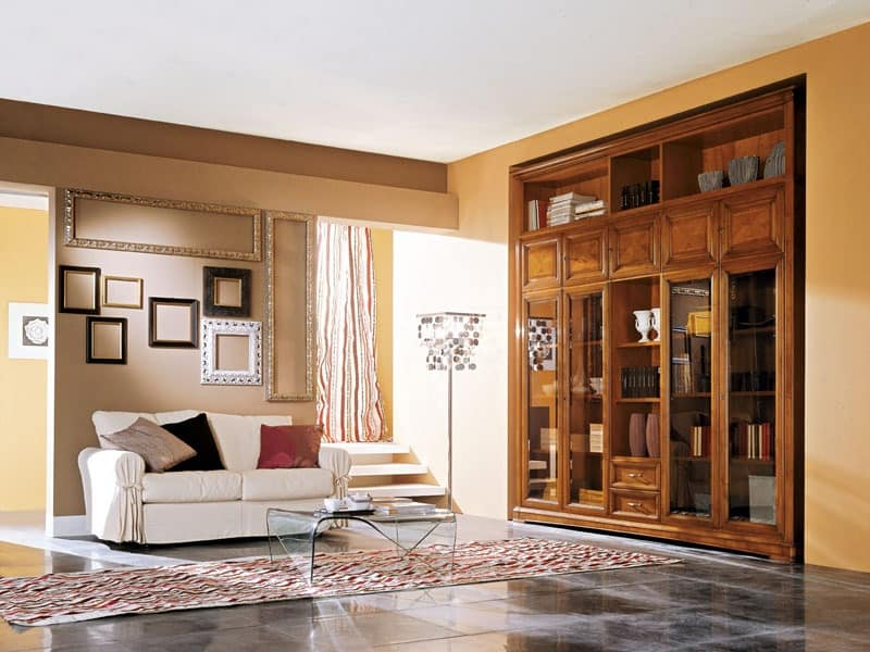 Art.110/L, Wooden cabinet with glass doors for living rooms
