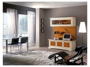 Art.114, Living room furniture made of solid wood with glass doors