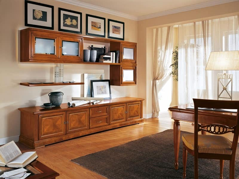 Art.116, Classic style bookcase with doors and shelves