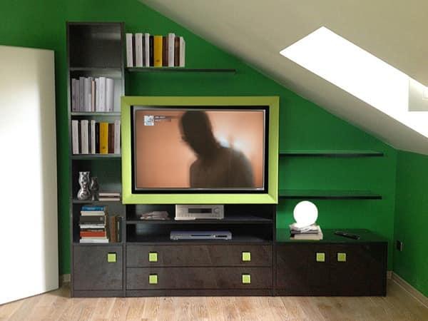 Art. 2830 Clover, Storage unit for the living room, leather frame for tv