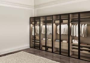 ATLANTE WIND comp.02, Modern wardrobe for bedrooms, with glass doors