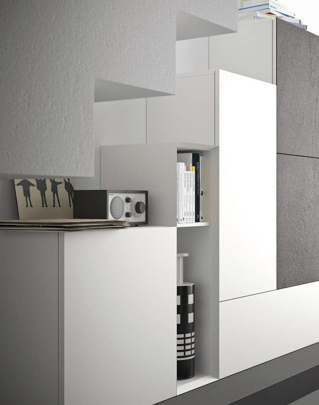 Spazio S308, Wall system for living room, with high quality