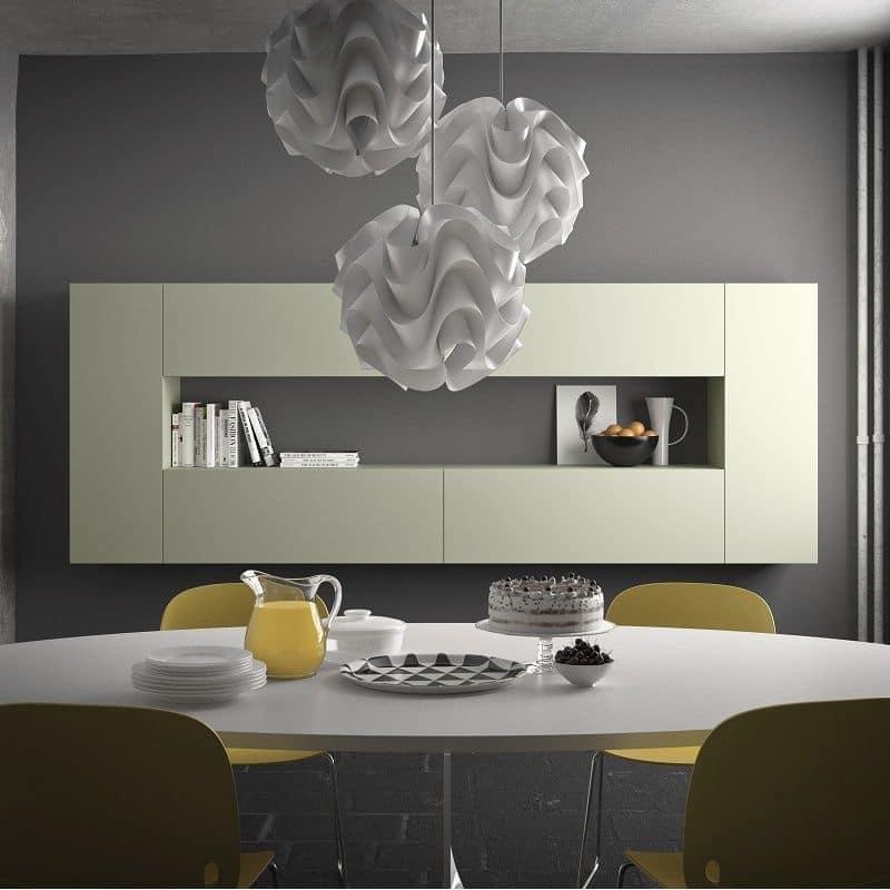 Spazio S307, Modular shelf, made of stone, glass, aluminum, wood