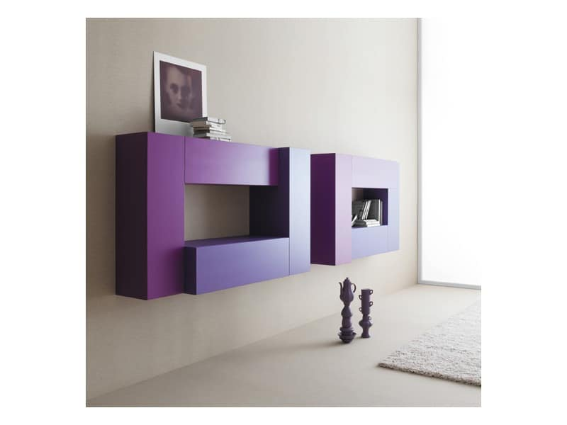 Box - Volumi 02, Modular furniture for the living room, wall mounting
