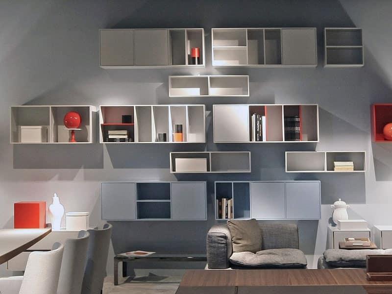 Modular living room furniture customizable composition for Pareti attrezzate salotto