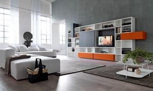 Citylife 34, Bookcase with tv stand ideal for modern living rooms