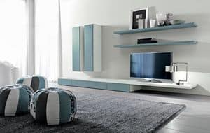 Citylife 44, Modular system for living room, with shelves and cabinets