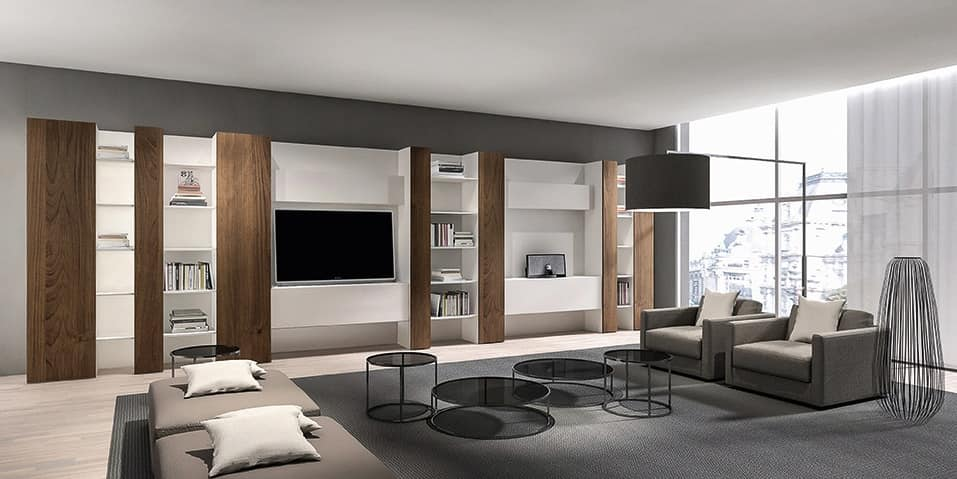 CODE comp.05, Modern library for living room, with mobile TV and shelves
