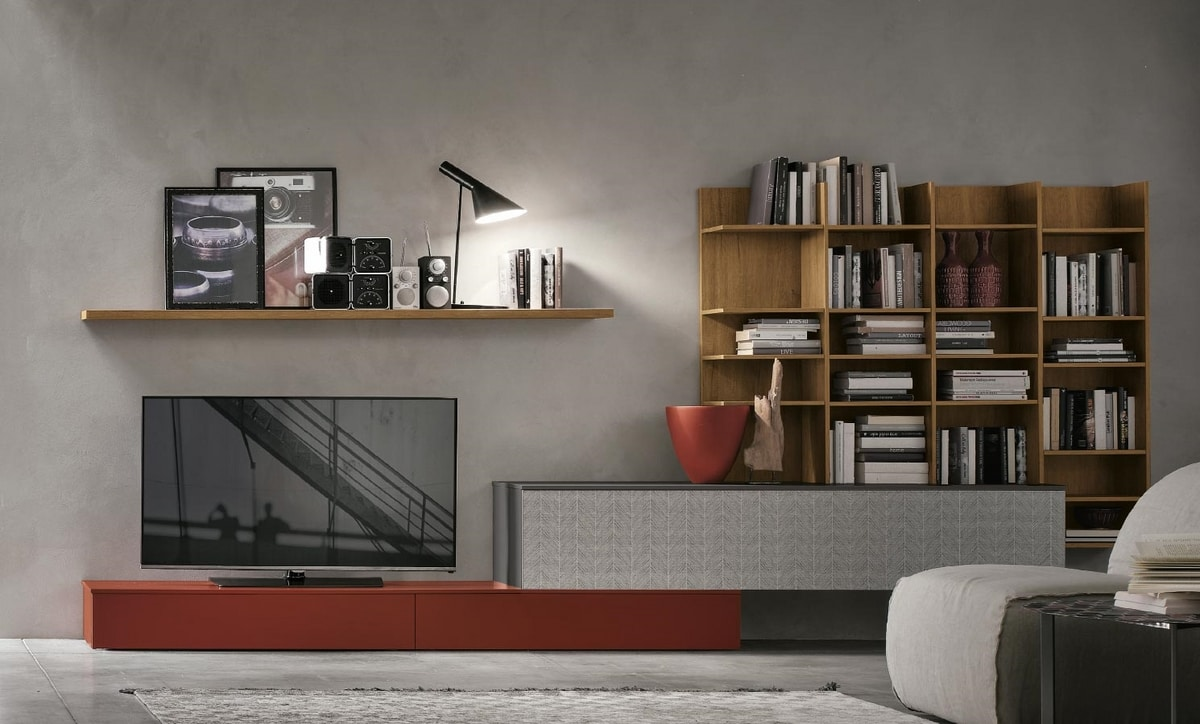 Comp.e A114, Living room furniture with wooden bookcase