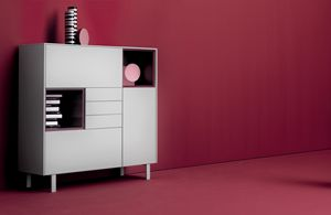 COVER 209, Lacquered furniture for living room with drawers