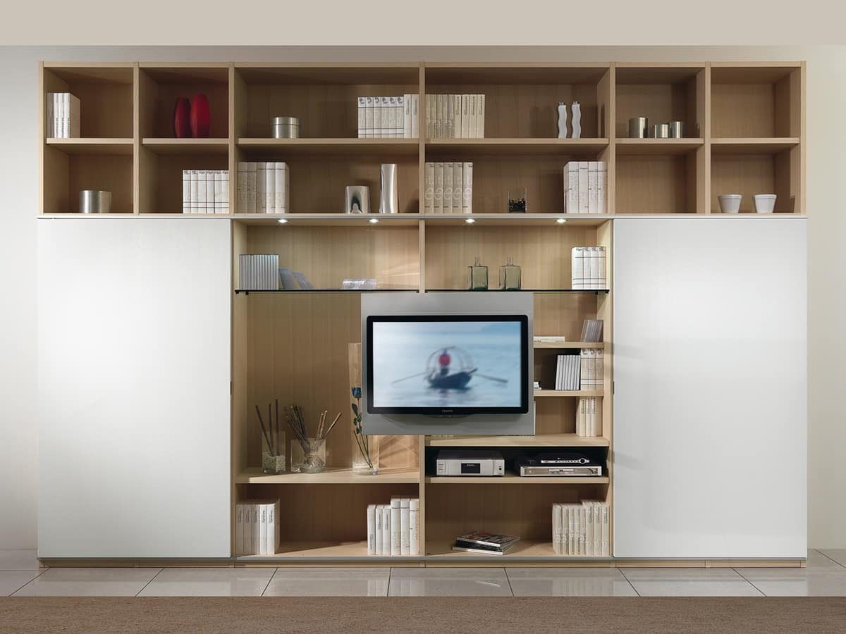 Day Library 01, Modular structure with bookshelf and TV stand, 2 sliding doors