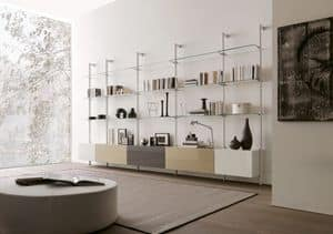 dl300 dublino, Living room furniture in glass and melamine, for modern living