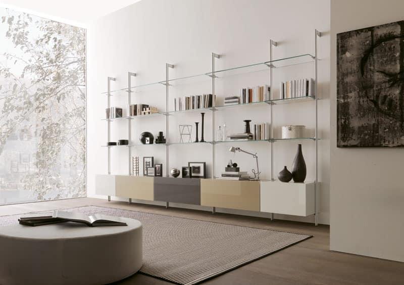 dl300 dublino, Living room furniture in glass and melamine, for modern living