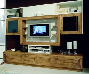 Elios 118, Living room furniture, in walnut and white lacquered