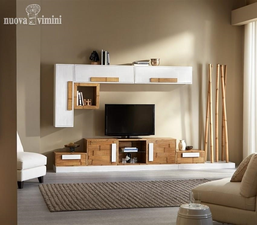 Equipped wall honey white Plus + Rubik, Ethnic furniture for living room