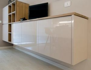 Eva tv cabinet, Wall cabinet with cubes in solid wood
