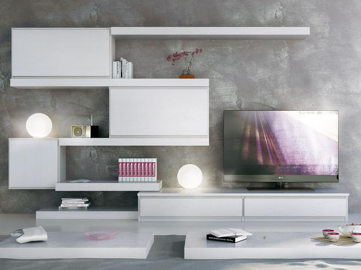 Giorno Sistemi 12, System of modular furniture, with different finishes