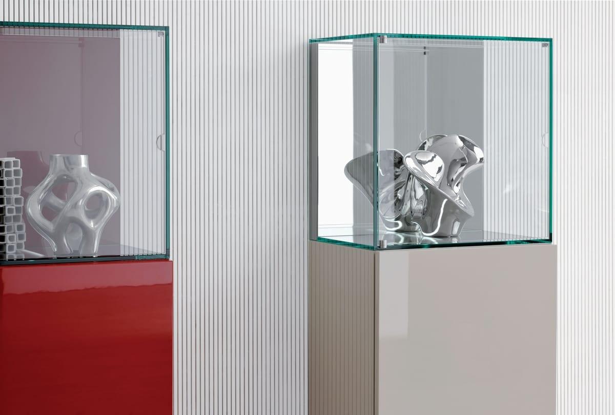 Living room furniture with illuminated glass case   IDFdesign