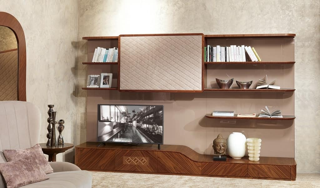 LB33 Desyo bookcase, Living room furniture with TV stand in contemporary style