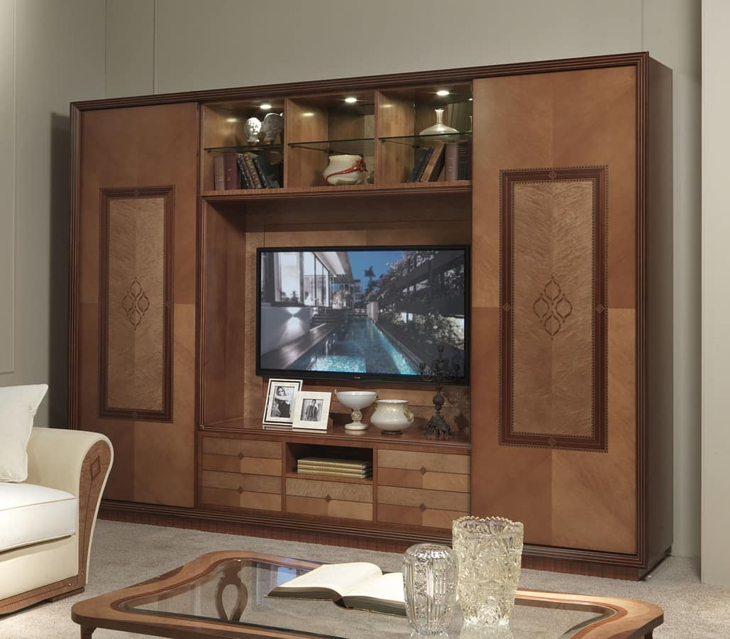 LB38 Charme bookcase, TV cabinet with bookcase, classic contemporary style