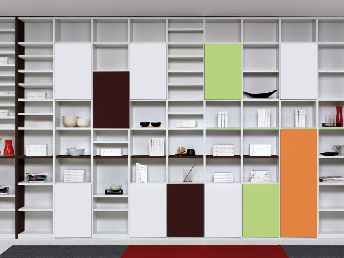 Day Library 15, Modular furniture with essential shapes, for stays