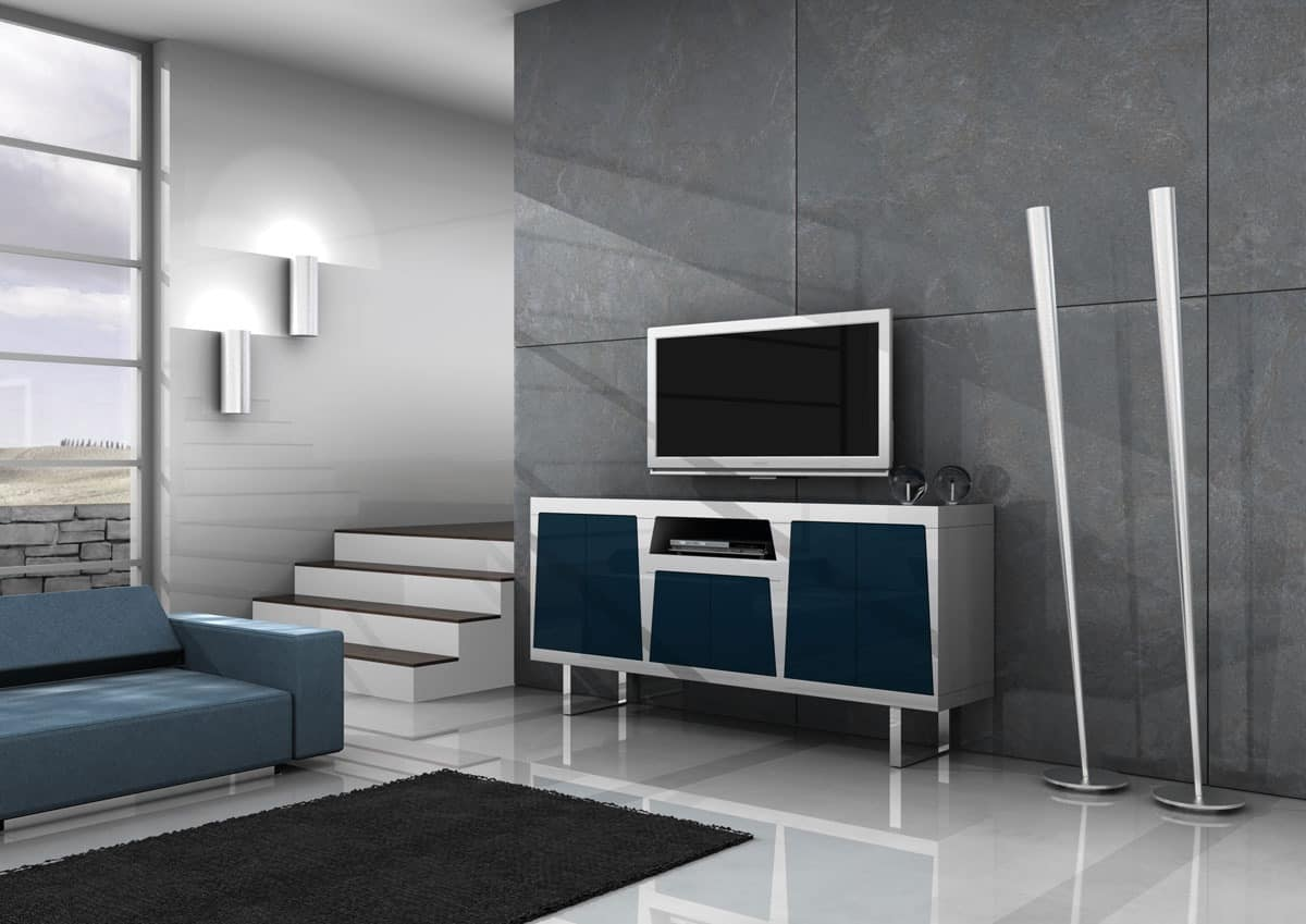Line, Laquered TV Stand, doors with push-pull opening