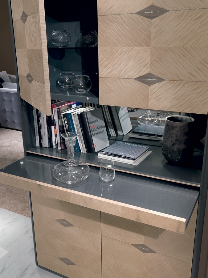 MB58 Desyo Lux Bar cabinet, Bar cabinet, with retractable shelf