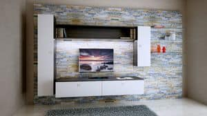 Milano 10, Paneling in rock for loving room, with wall units