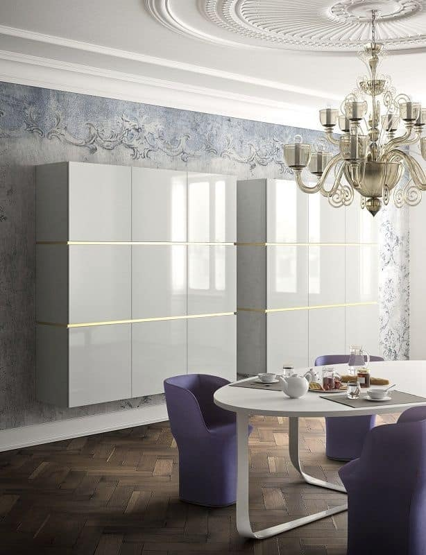 People P204, Modern sideboard in metal and wood, with display cabinet