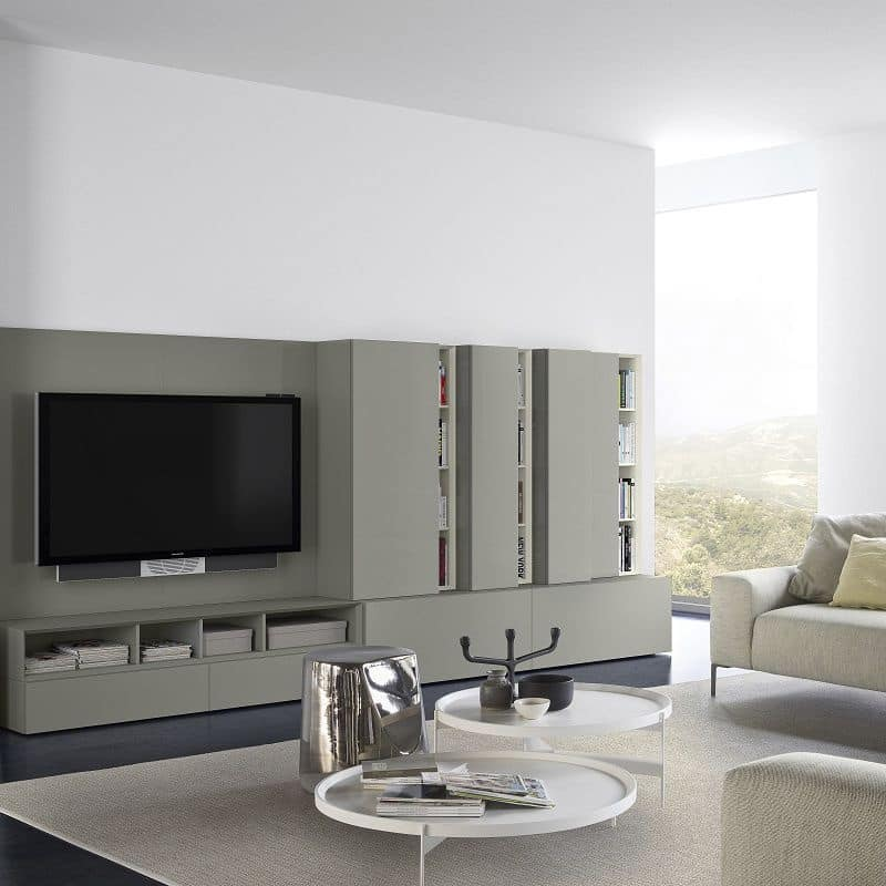 People P212, Modular system for living room, in lacquered wood