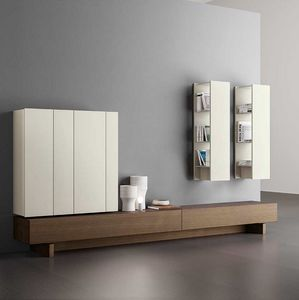 Plinto 1.6 C, Living room furniture, customizable, with wall cabinets