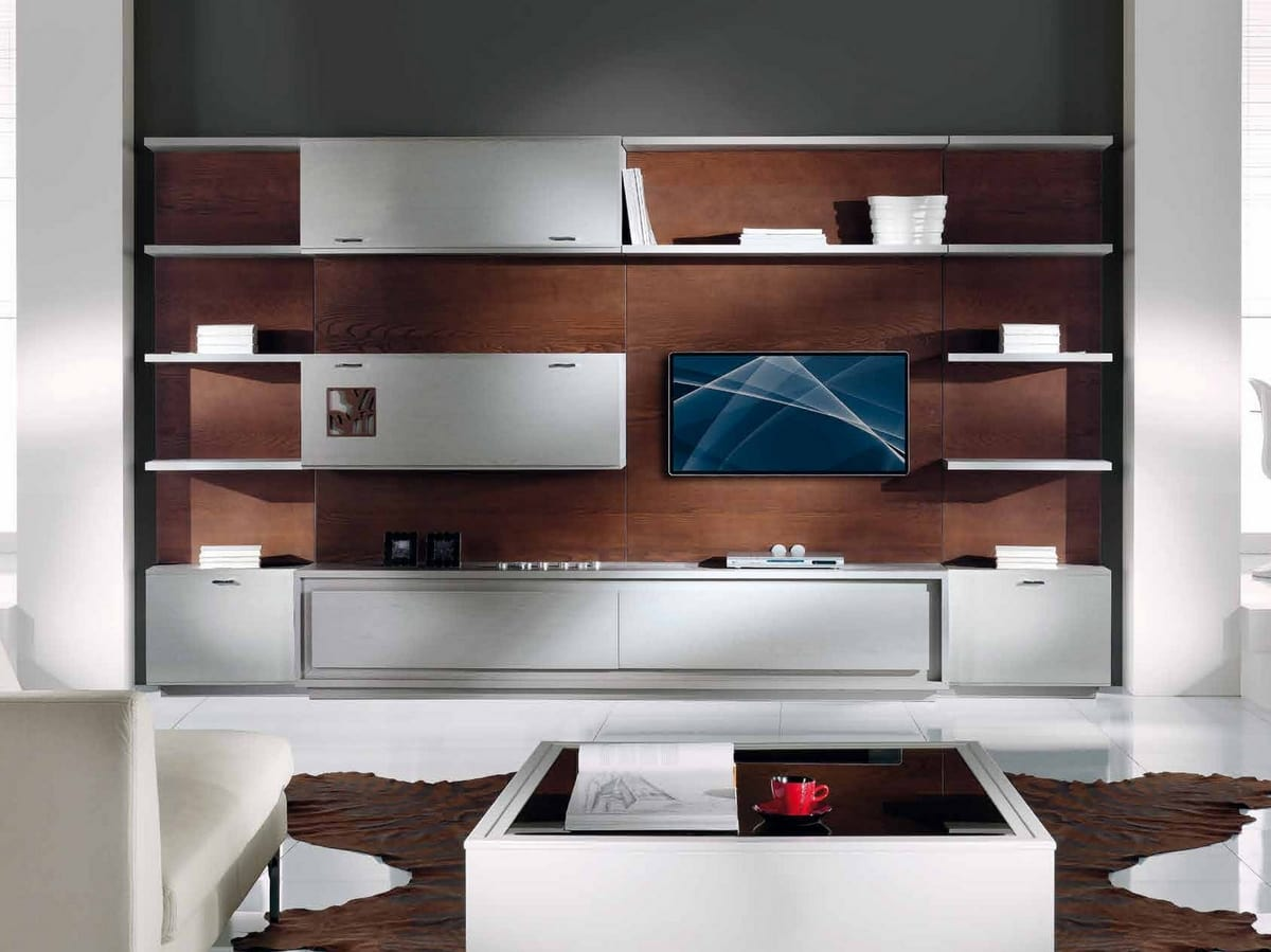 Prima Classe equipped wall, Wall unit for living room, modular