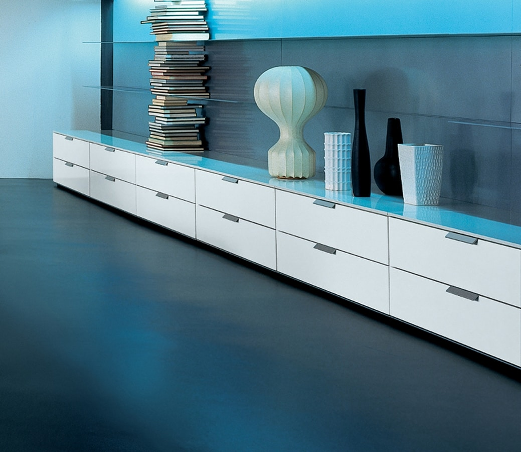 PRISMA comp.03, Low cabinet with 4 drawers with wheels, for home