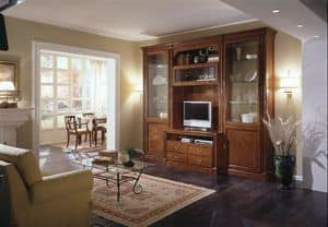 R 04, Modular furniture for living room, inlaid cherry