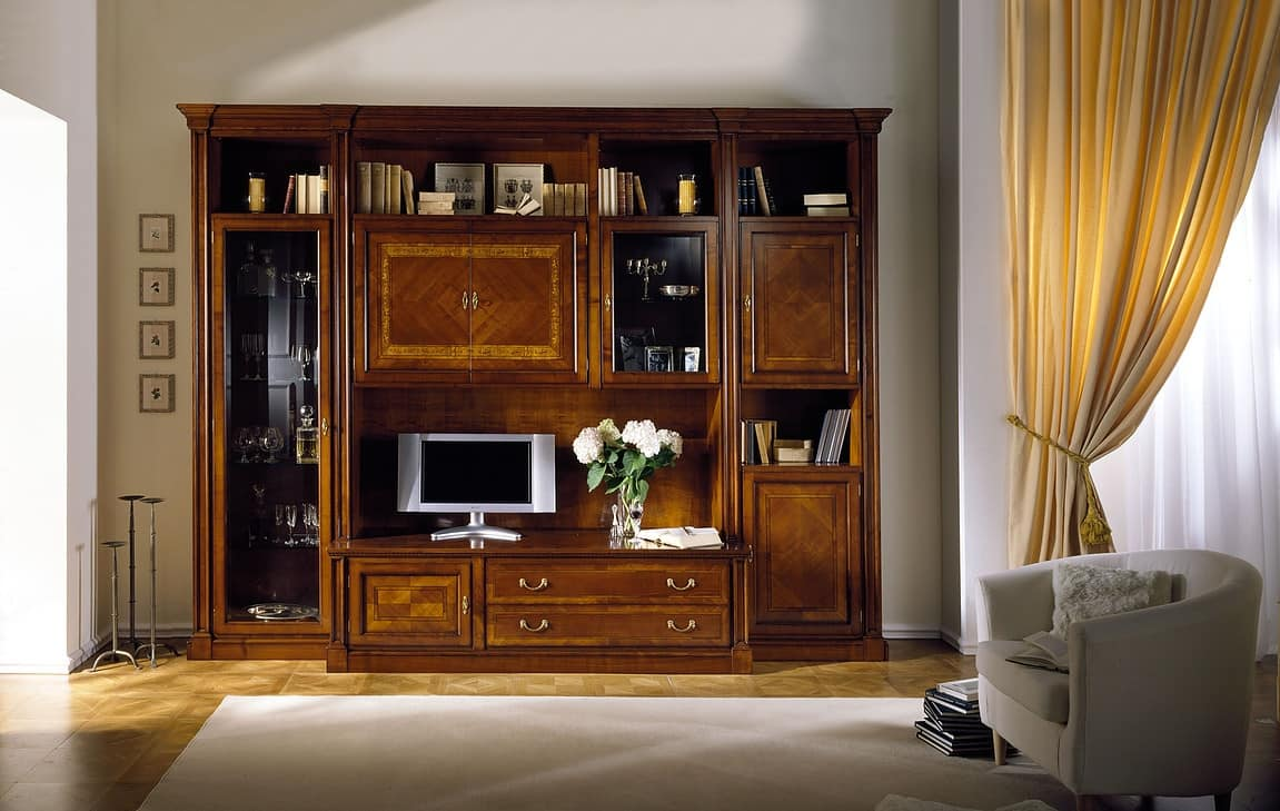 R 05, Modular furniture in cherry, for classic living room
