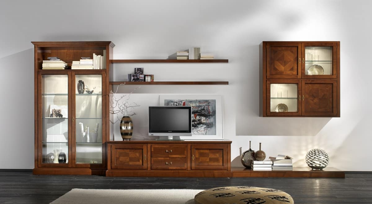 R 07, Cherry furniture for living room, with brass handles