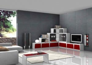 Red Corner, Corner tv stand, for stylish stay
