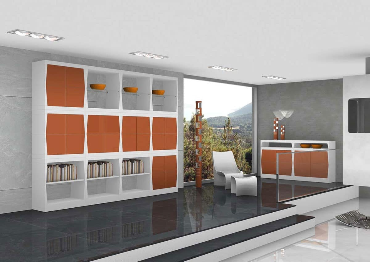 Silvy, Furniture for the living area with doors and shelves