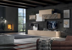 Spazio Contemporaneo SPAZ04, Modular wooden furniture for living room