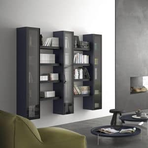 Spazio S304, Modular shelf, with display cabinet, for modern living